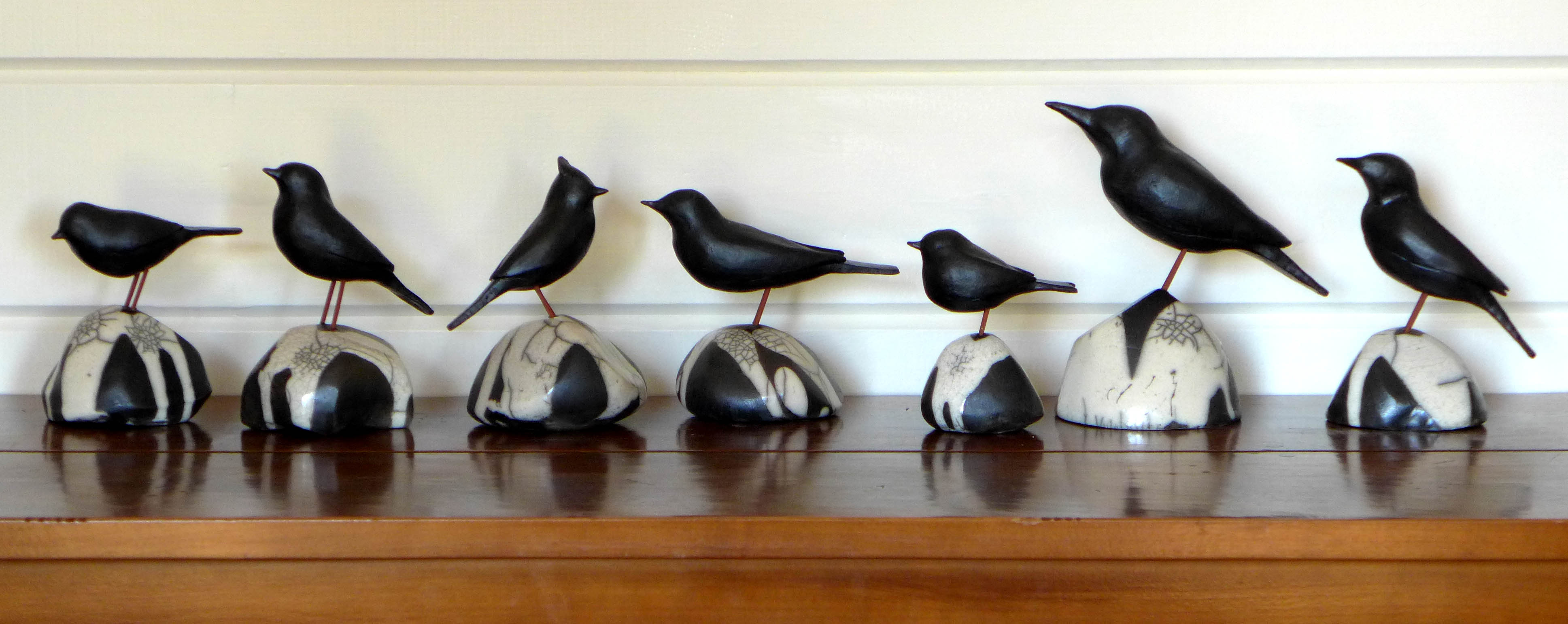 Vogeltjes op raku steen kl